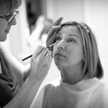 Bridal makeup being applied by professional Kent wedding makeup artist