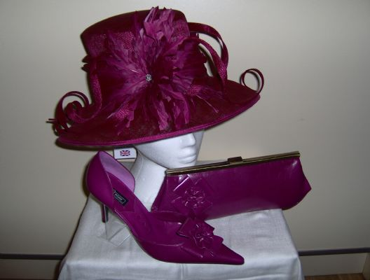 Wedding hat, wedding shoes and matching wedding handbag from Kent Hat company